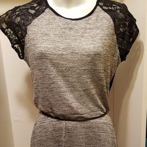 XL Gray and Black Lace Dress